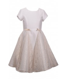Bonnie Jean Ivory Shiny Twill/Lace Gusset Dress Little Girl